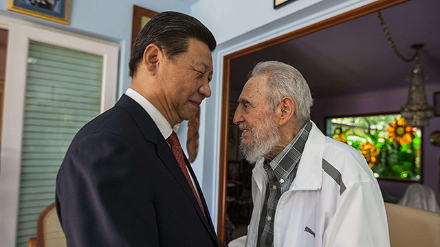 Xi Jinping with Fidel Castro